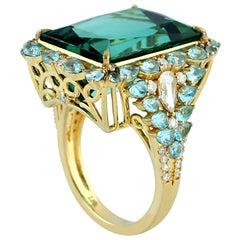 Apetite Tourmaline Diamond Ring in 18 Karat Yellow Gold