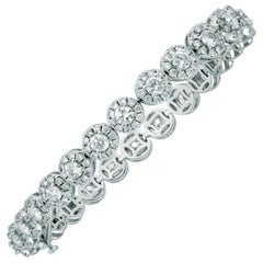Apex 14 Karat White Gold Diamond '6.76 Ct' Halo Link Bracelet