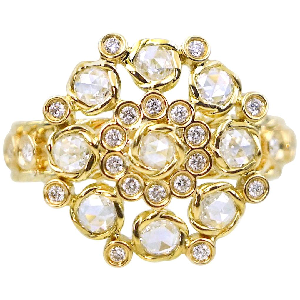 Aphrodite 18K Gold Rose Cut Diamond Cluster Cocktail Ring in-Stock