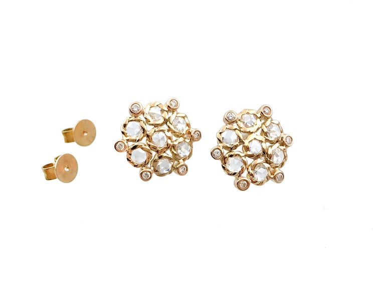 This listing is for Aphrodite 18k Gold Rose-Cut Diamond Bouquet Cluster Stud Earrings. This is a Custom Made to Order Item.  APHRODITE studs, Featuring 14 rose-cut white diamonds,  hand set in JeweLyrie signature twist bezels, punctuated with small