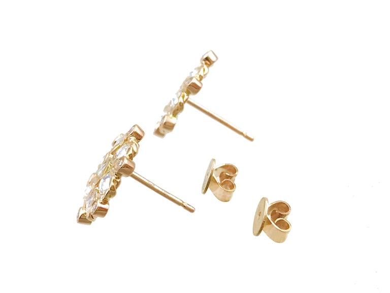 Contemporary Aphrodite 18 Karat Gold Rose-Cut Diamond Cluster Stud Earrings For Sale