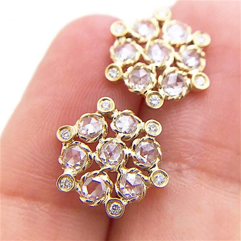 Rose Cut Aphrodite 18 Karat Gold Rose-Cut Diamond Cluster Stud Earrings For Sale