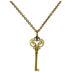 Aphrodite's Scroll Key Charm Necklace in 18 Karat Yellow Gold