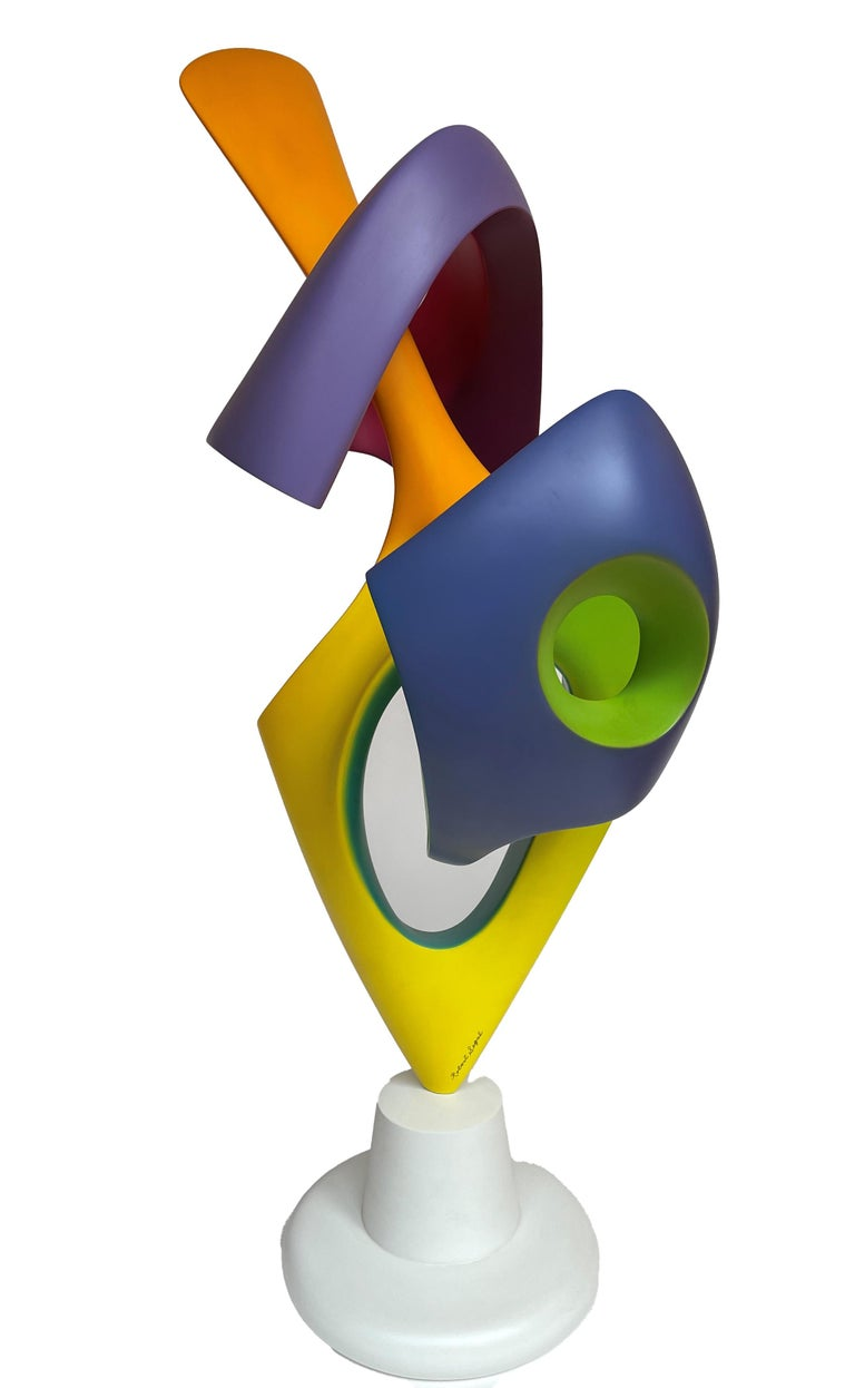 Modern Apocalypse, Abstract Sculpture, Brightly Colored Geometric Intertwined Form For Sale