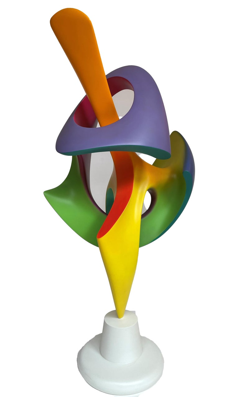 Cast Apocalypse, Abstract Sculpture, Brightly Colored Geometric Intertwined Form For Sale