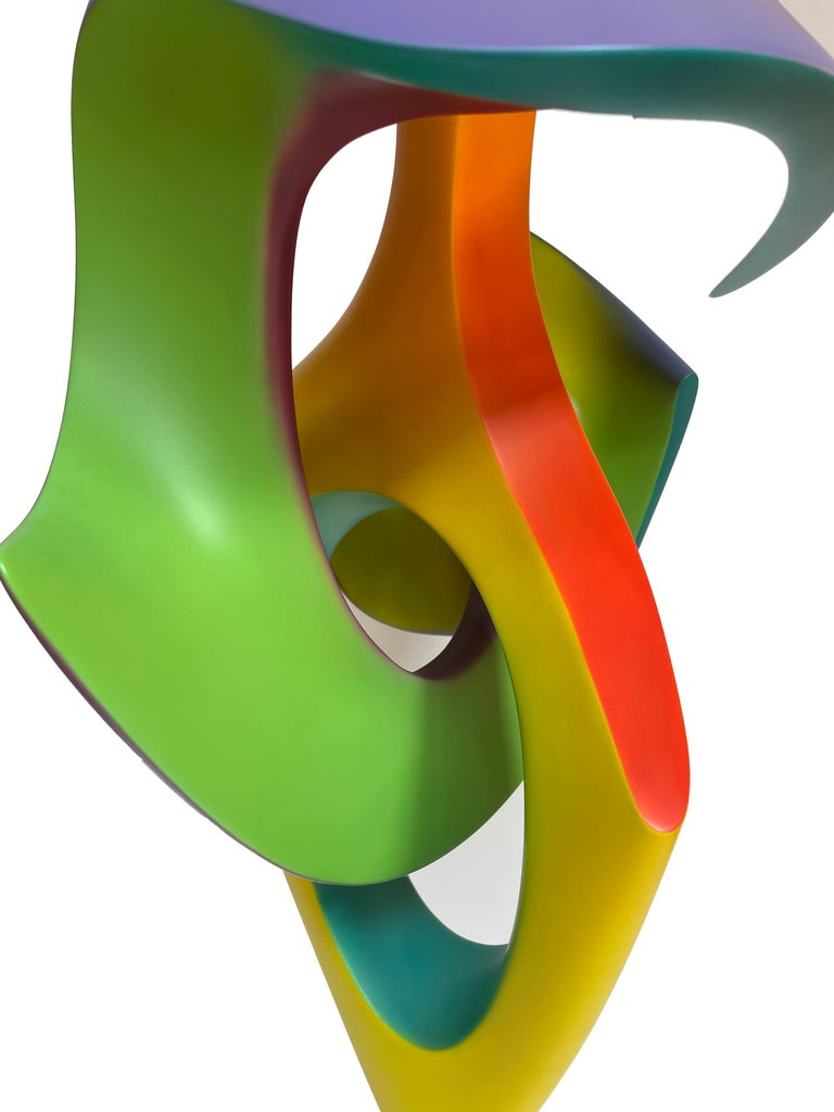 Contemporary Apocalypse, Abstract Sculpture, Brightly Colored Geometric Intertwined Form For Sale