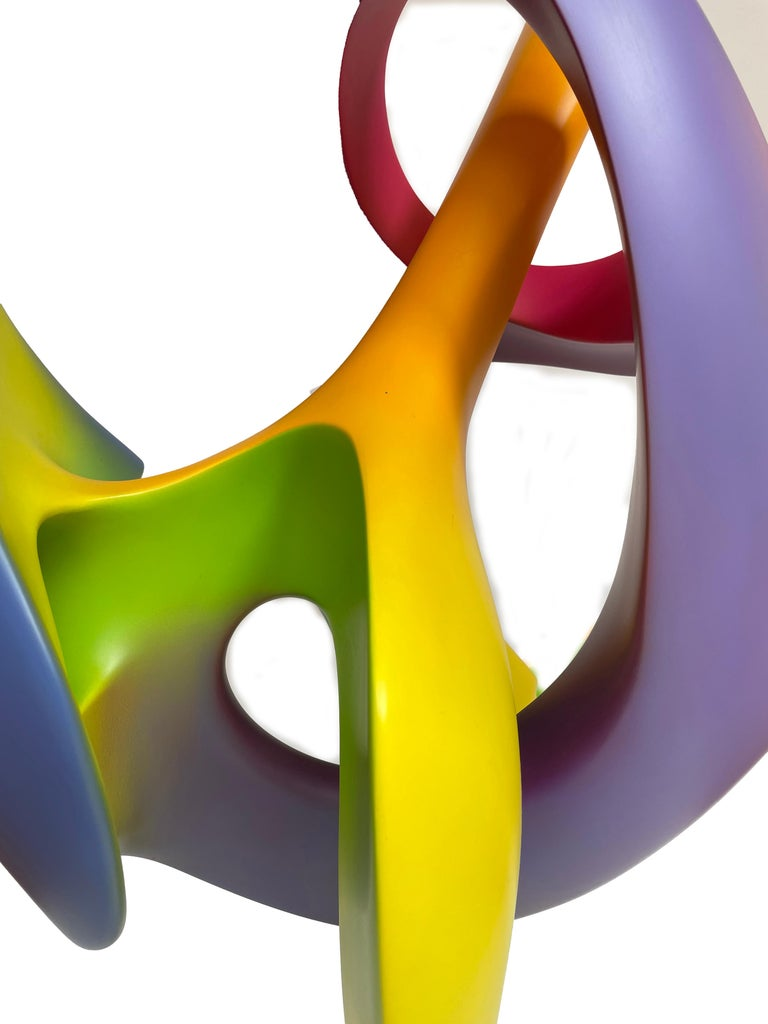Acrylic Apocalypse, Abstract Sculpture, Brightly Colored Geometric Intertwined Form For Sale