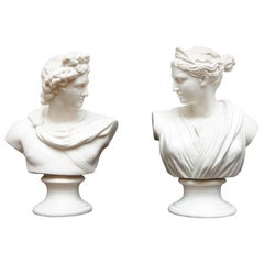 Apollo and Diana Classical Parian Busts