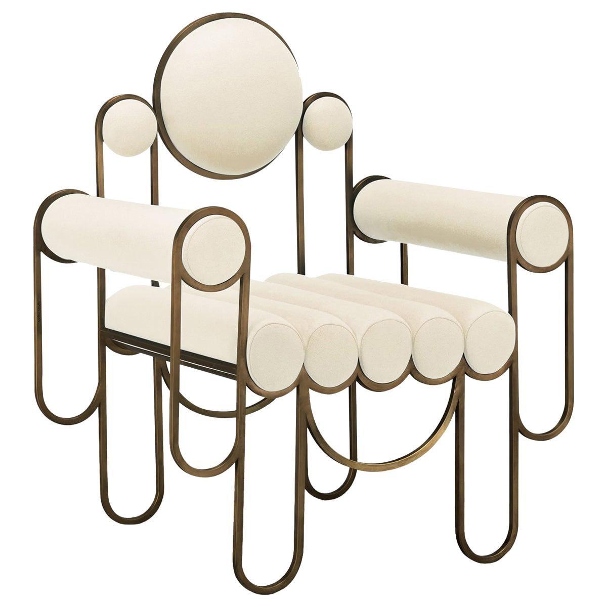 Apollo Armchair, Club Chair, Dark Brass Frame and Cream Wool by Lara Bohinc