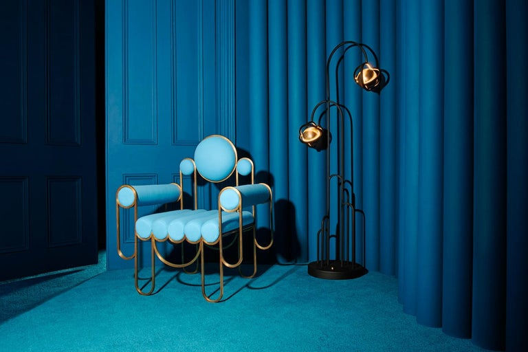 Apollo Armchair, Dark Brass Frame and Blue Wool by Lara Bohinc, In Stock For Sale 2