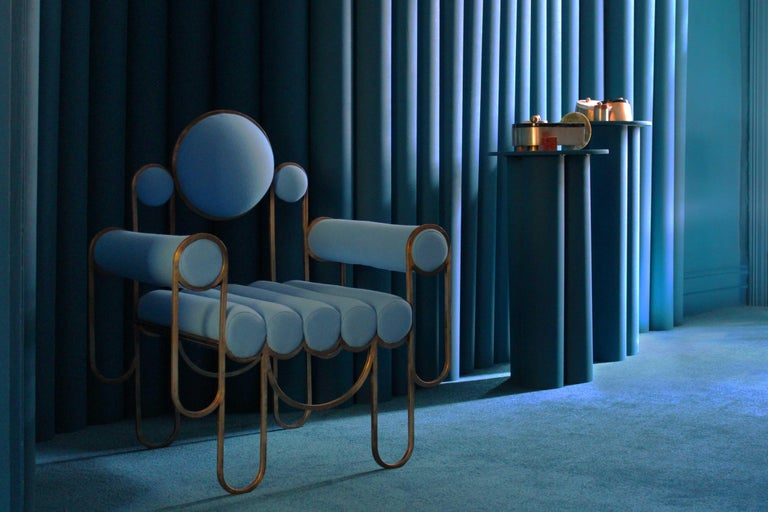 Apollo Armchair, Dark Brass Frame and Blue Wool by Lara Bohinc, In Stock For Sale 3