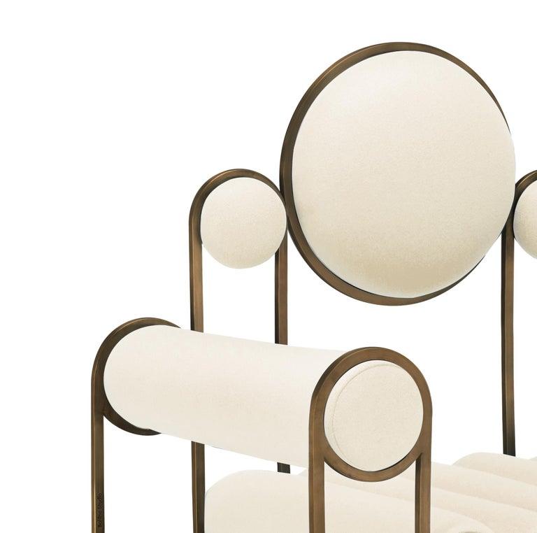 Modern Apollo Armchair, Club chair, Dark Brass Frame and Cream Wool by Lara Bohinc For Sale