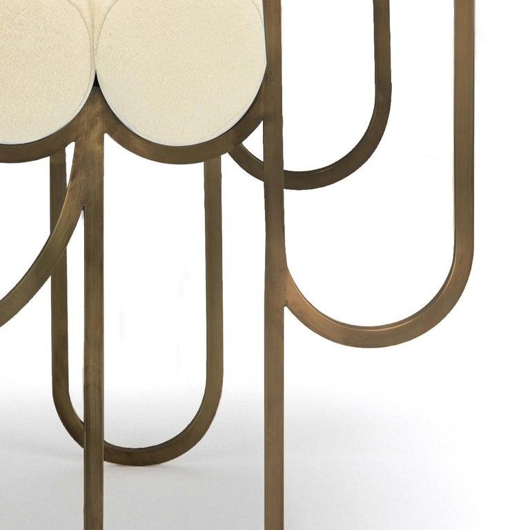 Portuguese Apollo Armchair, Club chair, Dark Brass Frame and Cream Wool by Lara Bohinc For Sale