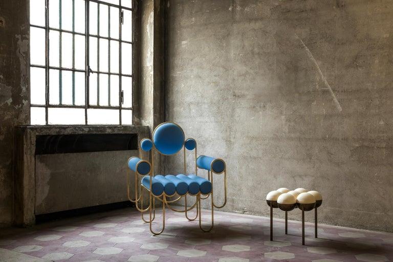 Metalwork Apollo Armchair, Club chair, Dark Brass Frame and Cream Wool by Lara Bohinc For Sale