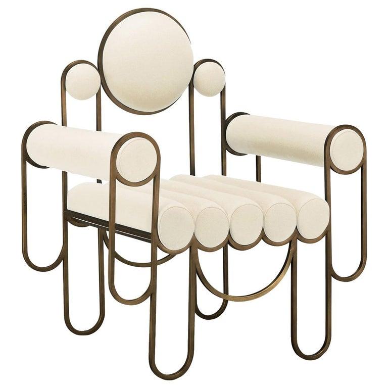 Apollo Armchair, Club chair, Dark Brass Frame and Cream Wool by Lara Bohinc For Sale