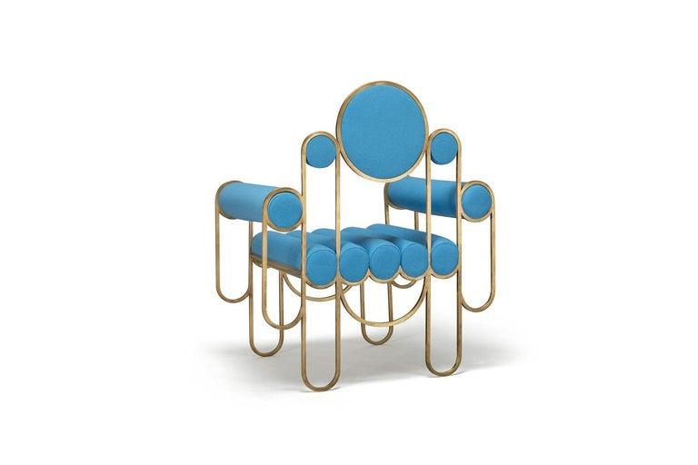 Modern Apollo Armchair, Dark Brass Frame and Blue Wool by Lara Bohinc For Sale