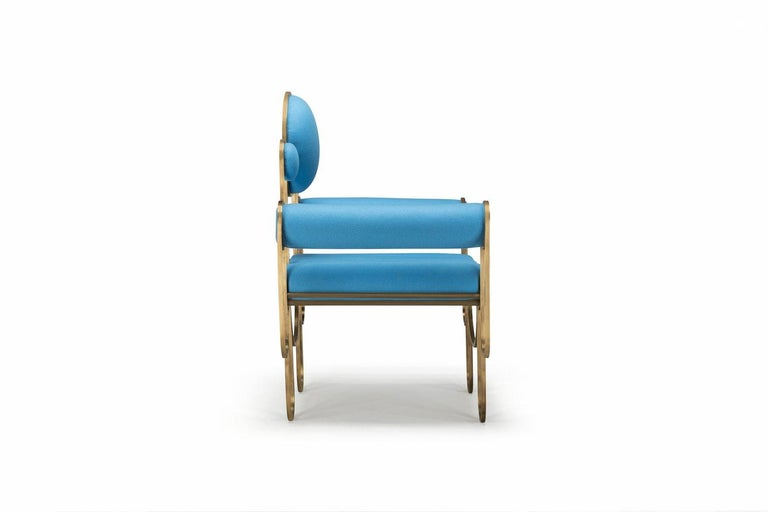 Portuguese Apollo Armchair, Dark Brass Frame and Blue Wool by Lara Bohinc For Sale