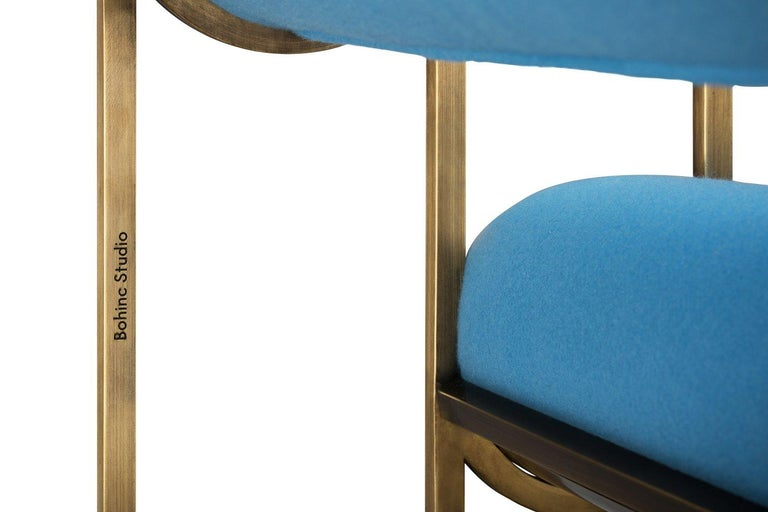 Apollo Armchair, Dark Brass Frame and Blue Wool by Lara Bohinc In New Condition For Sale In London, GB
