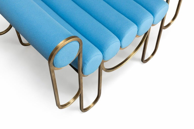 Contemporary Apollo Armchair, Dark Brass Frame and Blue Wool by Lara Bohinc For Sale