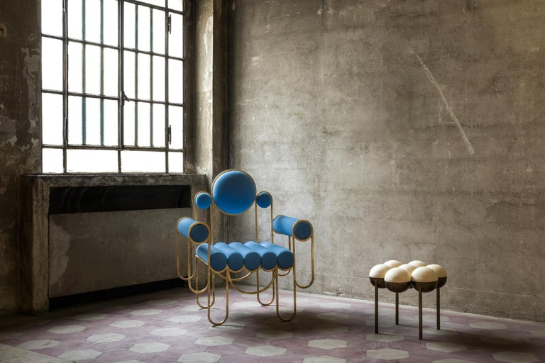 Apollo Armchair, Dark Brass Frame and Blue Wool by Lara Bohinc For Sale 1