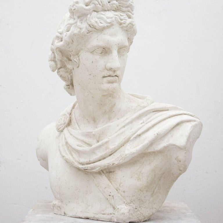 This magnificent bust of Apollo, the Greek god of art, medicine, and music is directly inspired by the classic marble statues in the Roman tradition. The stunning god appears here in profile, a stern gaze on this handsome face, as he has just killed