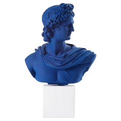 In Stock in Los Angeles, Apollo Bust Statue in Blue