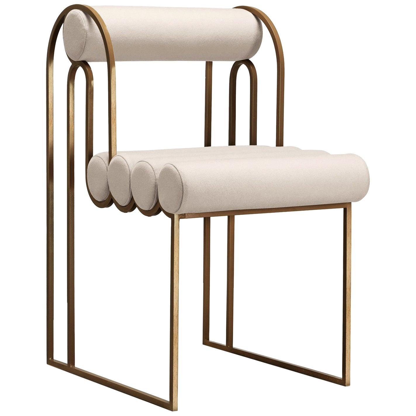 Apollo Dining Chair, Brass Frame and Cream Wool by Lara Bohinc