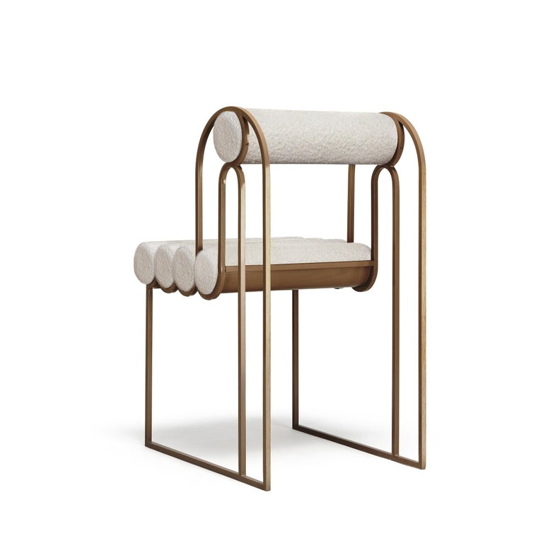 Modern Apollo Dining Chair, Dark Brass Frame and Ivory Boucle by Lara Bohinc, in Stock For Sale