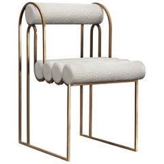Apollo Dining Chair, Dark Brass Frame and Ivory Boucle by Lara Bohinc, in Stock