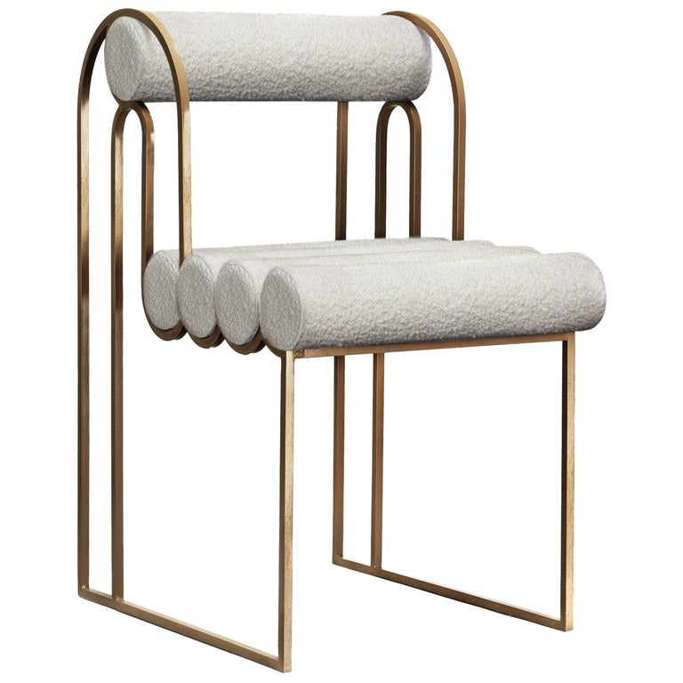 Apollo Dining Chair, Dark Brass Frame and Ivory Boucle by Lara Bohinc, in Stock For Sale