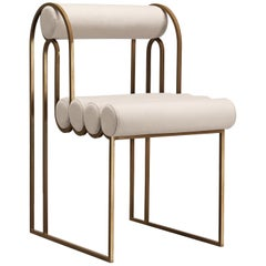 Apollo Dining Chair, Brass Frame and Cream Wool by Lara Bohinc