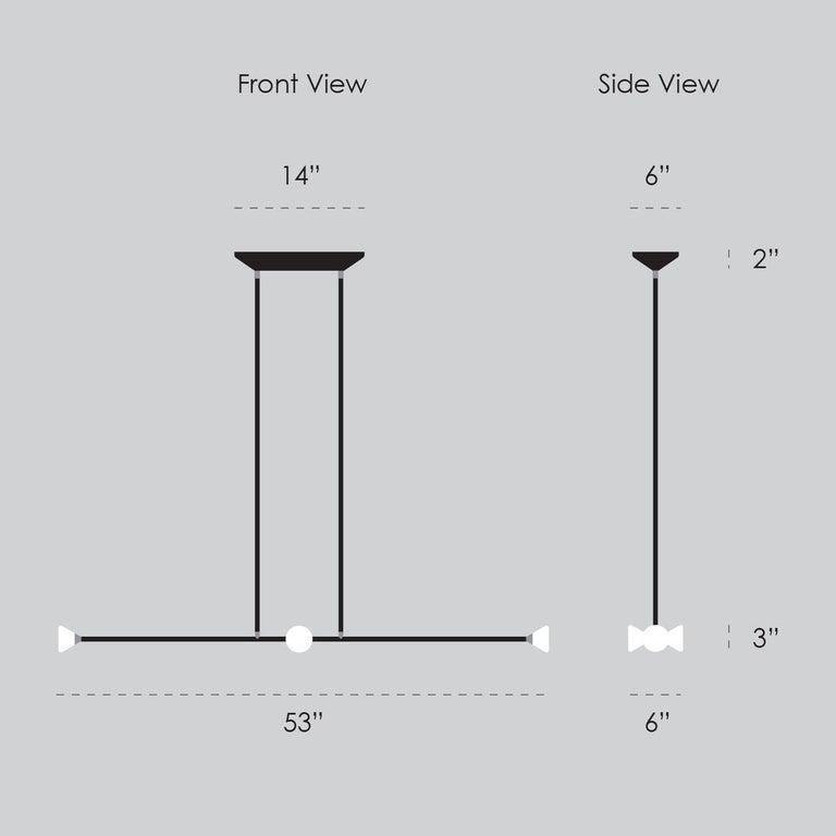 Apollo Four Chandelier - Contemporary Matte Black Linear LED Light Fixture For Sale 5