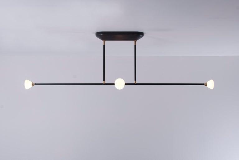Modern Apollo Four Chandelier - Contemporary Matte Black Linear LED Light Fixture For Sale