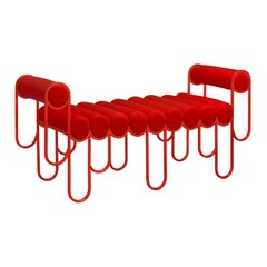 Apollo Loveseat, Sofa, Daybed, Red Metal Frame and Red Wool by Lara Bohinc