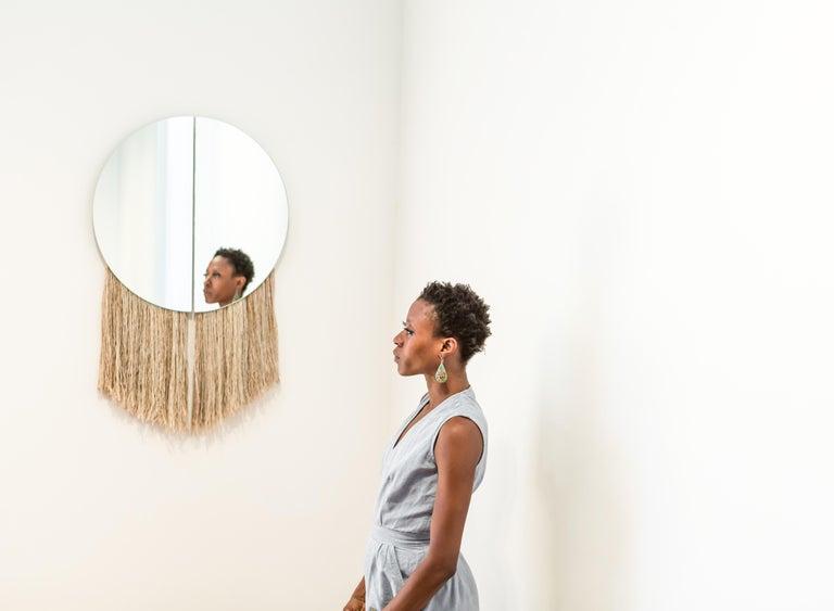 Silver Round Mirror with Fiber, Contemporary Apollo Mirror by Ben & Aja Blanc In New Condition For Sale In Rumford, RI