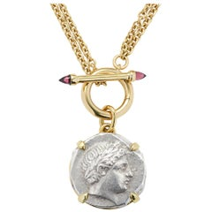 Apollo Patraos Ancient Silver Coin Pendant Rhodolite Garnet Yellow Gold Necklace