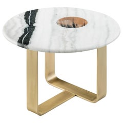 Apollo Side Table in Satin Dalmata Marble with Glossy Horn Inlay, Mod. 7010BRSV