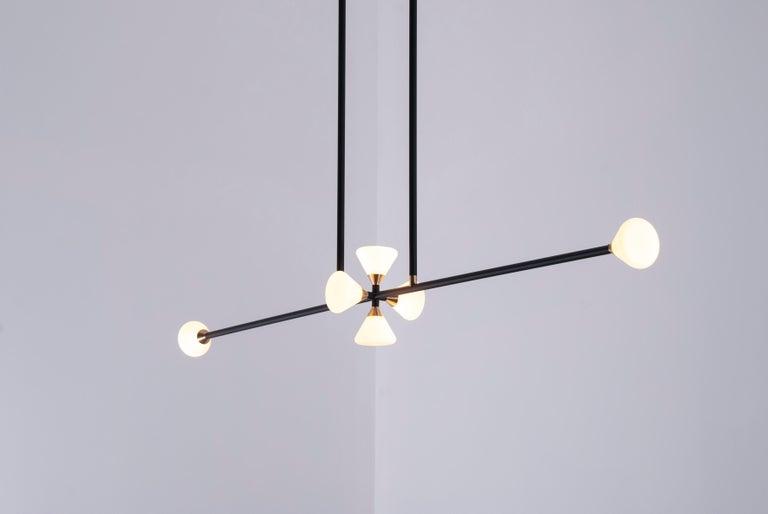 Apollo Six Chandelier Contemporary Linear Matte Black Led Modern Light Fixture