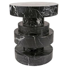 Apollo Stool in Nero Marquina Marble by Kelly Wearstler