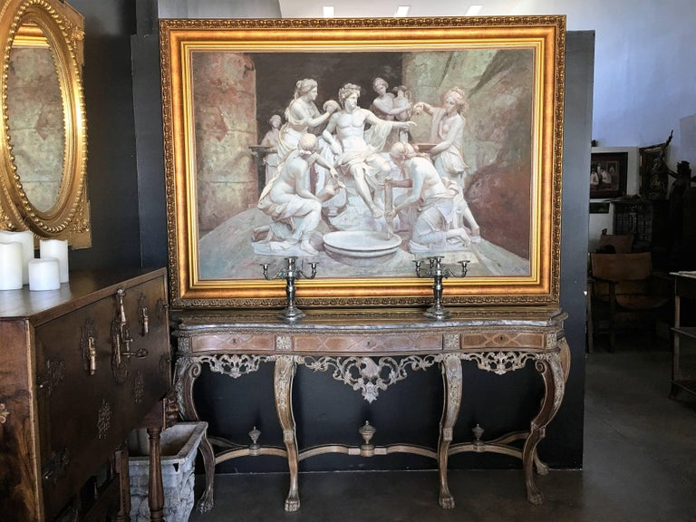 Apollo tended by the nymphs 61´x 84´ Large Italian 18th Century Style Old Master For Sale 5