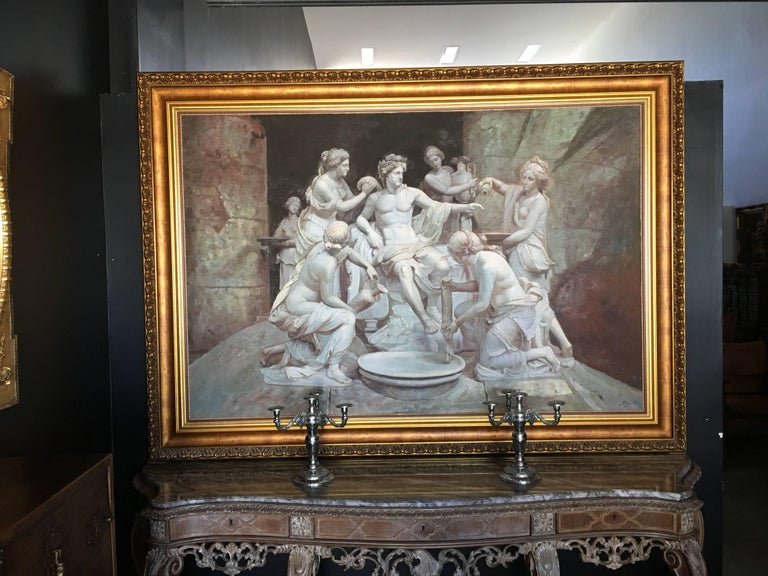 Apollo tended by the nymphs 61´x 84´ Large Italian 18th Century Style Old Master For Sale 6