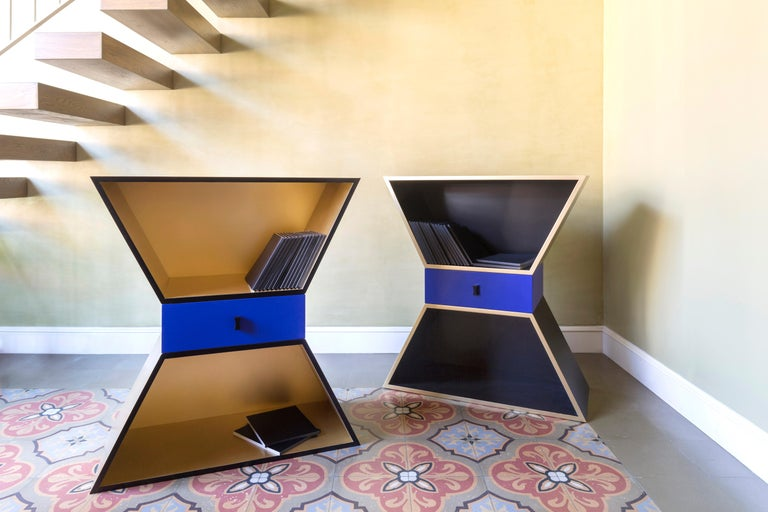 Italian Contemporary Sculptural Cabinet Gold Apollon Lacquered Wood by Chapel Petrassi For Sale