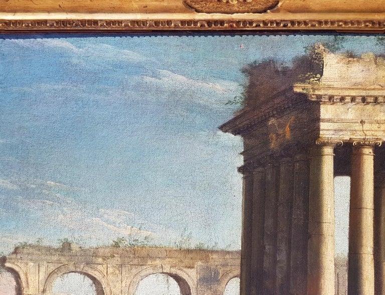 18th century Italian landscape painting, Architectural figures Oil canvas Venice For Sale 5