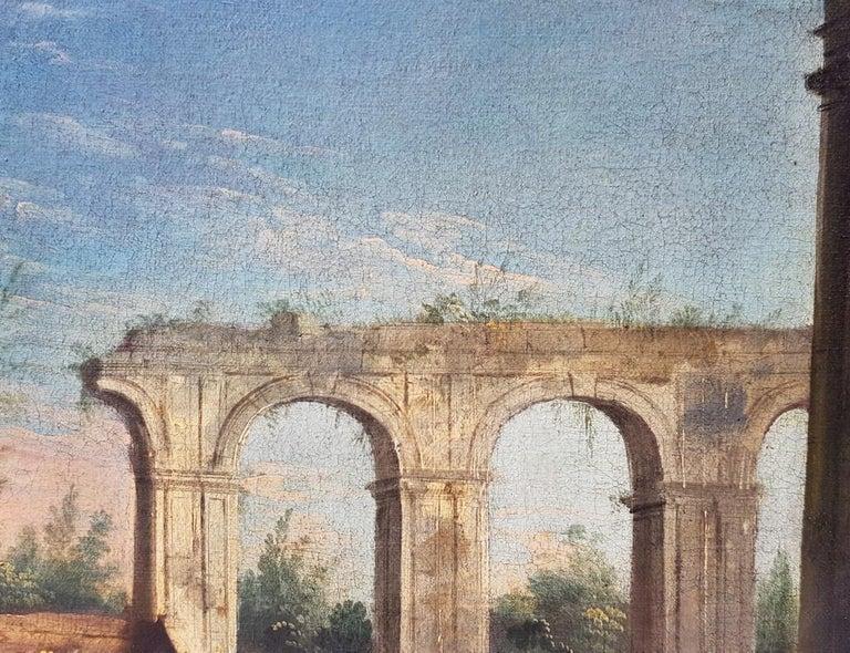 18th century Italian landscape painting, Architectural figures Oil canvas Venice For Sale 6