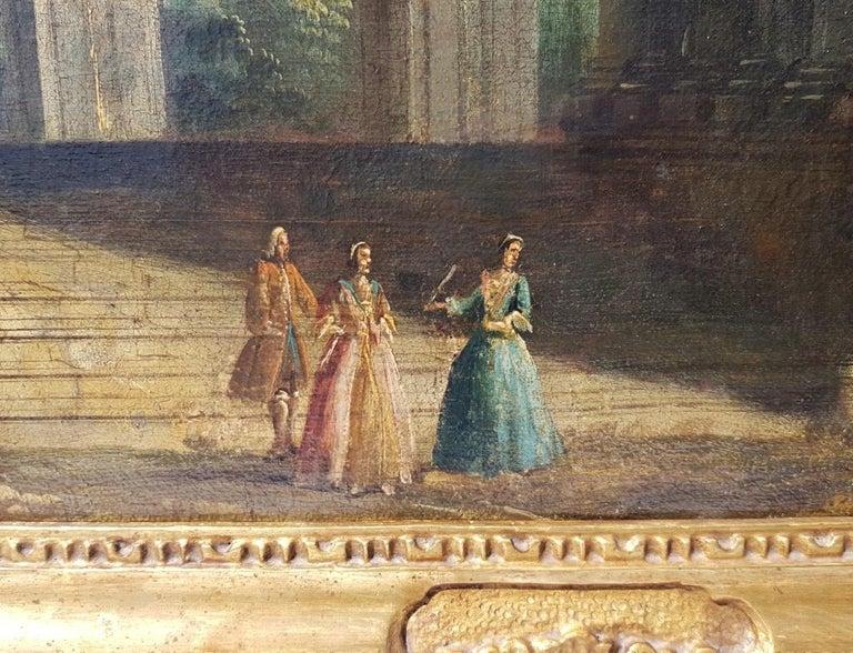 18th century Italian landscape painting, Architectural figures Oil canvas Venice For Sale 7