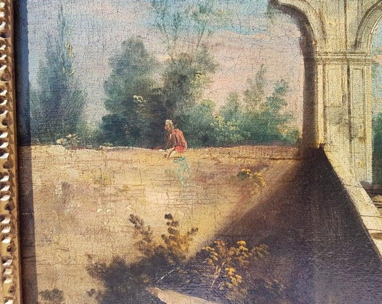 18th century Italian landscape painting, Architectural figures Oil canvas Venice For Sale 8