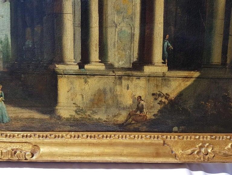 18th century Italian landscape painting, Architectural figures Oil canvas Venice For Sale 9