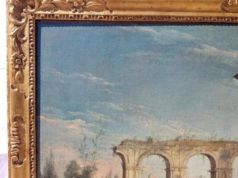 18th century Italian landscape painting, Architectural figures Oil canvas Venice For Sale 10