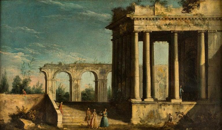 18th century Italian landscape painting, Architectural figures Oil canvas Venice - Painting by Apollonio Domenichini
