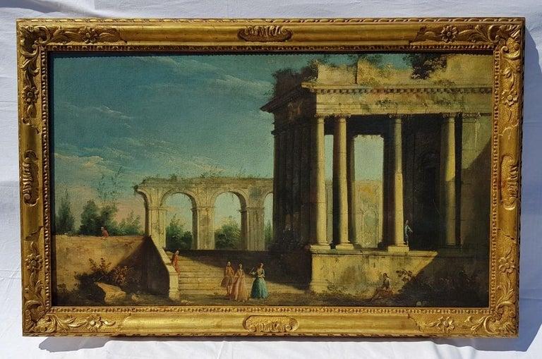 18th century Italian landscape painting, Architectural figures Oil canvas Venice - Rococo Painting by Apollonio Domenichini